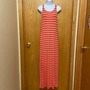 Coral & White striped maxi dress